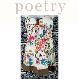 Poetry Strapless Floral Pullover Shirt Size Small